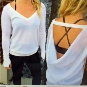 Gray Lululemon V neck open back sweater
